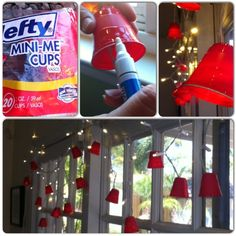 DIY Red Cup Party Lights- plastic shot cups, edged with white paint pen, on LED lights...