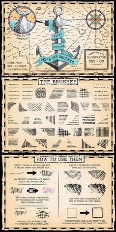 Vintage Pen and Ink Brushes for Adobe Illustrator #design #ai Download: http://graphicriver.net/item/vintage-pen-and-ink-brushes/9817338?ref=ksioks