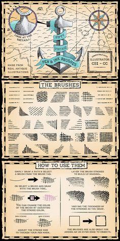Vintage Pen and Ink Brushes for Adobe Illustrator #design #ai Download: http://graphicriver.net/item/vintage-pen-and-ink-brushes/9817338?ref=ksioks