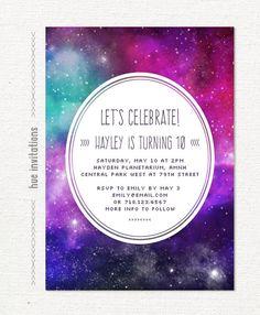 nebula 10th birthday party invitation, girls space birthday party, pink purple violet teal, kids planetarium galaxy birthday, 5x7 597 by hueinvitations on Etsy https://www.etsy.com/listing/207492082/nebula-10th-birthday-party-invitation
