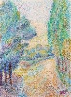 Ruelle bordée d'arbres. Early neo-impressionist work of Pointillism.