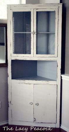 Handmade Vintage Corner Cabinet Shelf/bar