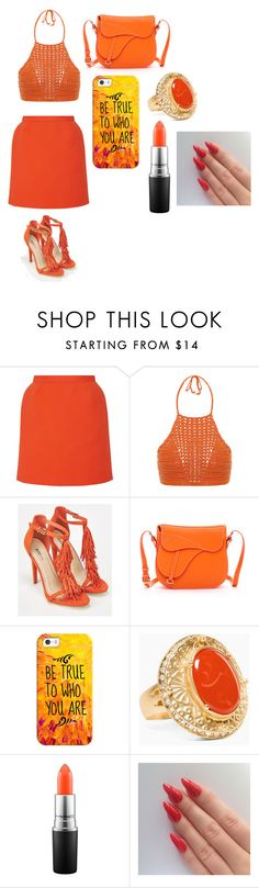 """""""Orange Day"""" by reginat2321 ❤ liked on Polyvore featuring Delpozo, Spiritual Hippie, JustFab, SUSU, Casetify, Chico's and MAC Cosmetics"""