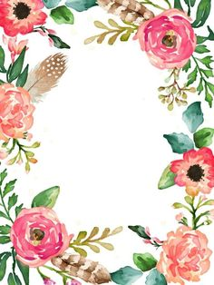 Flower Backgrounds, Wallpaper Backgrounds, Iphone Wallpaper, Wallpapers, Watercolor Flowers, Watercolor Art, Watercolor Wallpaper, Deco Floral, Paper Frames