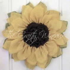 Just sold! #SpringIsSprung! Get your house ready for #Spring with a #Burlap #Sunflower #Wreath today!Also on thecraftywineaux.com!