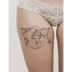What does world tattoo mean? We have world tattoo ideas, designs, symbolism and we explain the meaning behind the tattoo. Sexy Tattoos, Body Art Tattoos, Hand Tattoos, Girl Tattoos, Tattoos For Women, Tatoos, Women Thigh Tattoos, Et Tattoo, Tattoo Life
