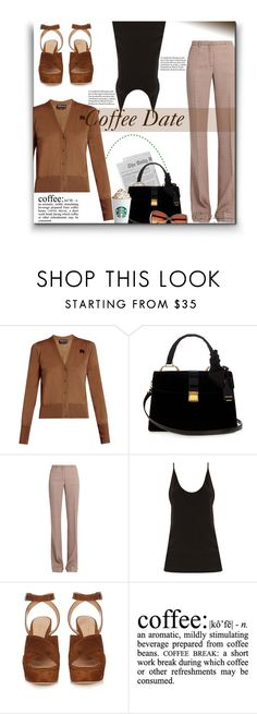 """Coffee Date * Pumpkin Spice"" by sherieme ❤ liked on Polyvore featuring Miu Miu, Raey, Gianvito Rossi and River Island"
