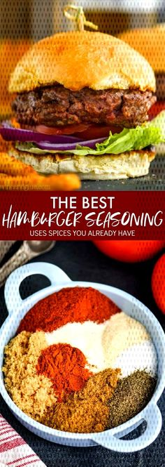 #ingredients #hamburger #seasoning #grilling #together #already #patties #simple #pantry #batch #comes #hand #make... Hamburger Spices, Hamburger Seasoning, Pantry, Grilling, Chicken, Simple, Ethnic Recipes, Food, Pantry Room