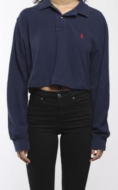 Vintage Polo Collared Crop Longsleeve Tee