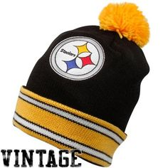 Mitchell  amp  Ness Pitt Steelers Stripe Cuff Pom Bean - Pittsburgh Steelers d36dfdeb2