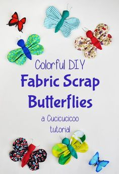 Tutorial: DIY scrap fabric butterfly (free pattern) - Cucicucicoo Best Picture For DIY Fabric Flowers baby For Your Taste You are looking for something, and it is going to tell you exactly what you ar Scrap Fabric Projects, Diy Sewing Projects, Sewing Projects For Beginners, Fabric Scraps, Sewing Tutorials, Tutorial Sewing, Fabric Butterfly Diy, Fabric Flowers, Butterfly Crafts