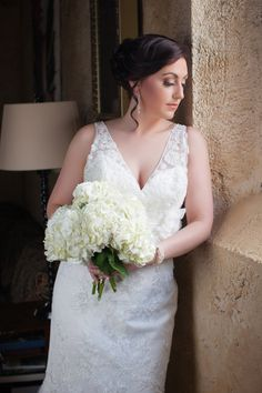 White Lace Wedding Gown + White Hydrangea Bouquet| Winery Wedding Inspiration with Classic Elegance|Photographer: Aida Krgin Photography