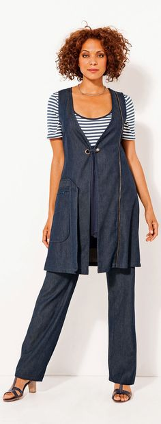 Travel Wear for Baby Boomer Women Over 50 - This plus size Laredoute outfit would be great for a cruise or for travel - It looks comfortable. READ ABOUT CRUISE WEAR at http://boomerinas.com/2011/12/womens-travel-cruise-wear-online-over-40-50/