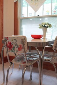 Very cool idea for fixing upholstery on those awesome 50's chrome chairs - fabric with vinyl covering sold at WalMart!