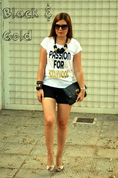 Black and Gold look wearing Passion for Hollywood t-shirt Hollywood, Passion, T Shirt, How To Wear, Gold, Black, Women, Style, Supreme T Shirt