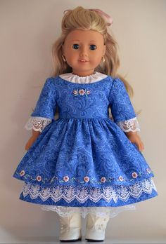 Eighteen Inch American Girl Doll clothing ensemble. Historical 1850's chemise, skirt, gown and collar. $158.00, via Etsy.