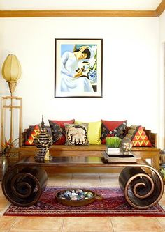asian interior design, scroll table, asian daybed
