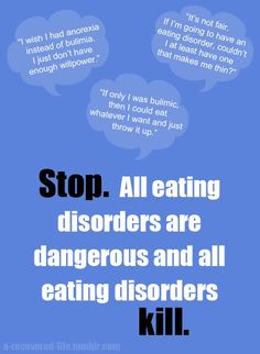 """How many times in your life have you thought, """"I wish I had an eating disorder! At least then I would be thin!"""" I know I have. In my lowest moments, I wished for a potentially fatal mental illness that would finally, once-and-for-all, make me thin. Now I know the truth - that eating disorders have the highest mortality rate of any mental illness AND that every time a person goes on a diet they are EIGHT TIMES more likely to develop disordered eating patterns that could lead to a full"""