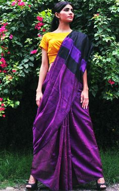 Purple and Black Colorblock Handloom Silk Saree