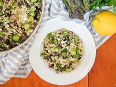 Cauliflower risotto with asparagus and mushrooms (low carb, vegan) - Caroline's Cooking