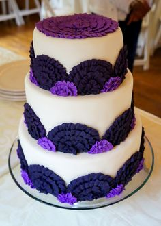 Violet and Royal Purple Wedding Cake