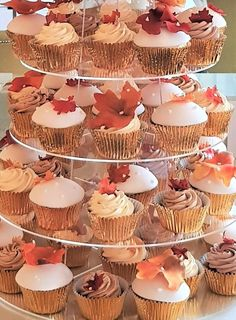 Autumn Wedding Cupcakes decorated with rusty toned maple leaves. Cupcake Tower Wedding, Wedding Cupcakes, Mini Cupcakes, Silhouette Cake, Couture Cakes, Maple Leaves, Elegant Cakes, Autumn Wedding, Handmade Flowers