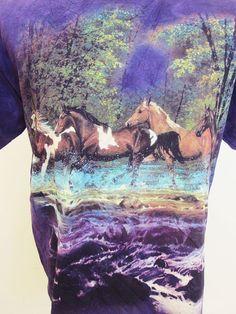Vintage Horses Wild Hipster Animal Print Nature T-Shirt M