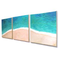 Home and Office Art   TROPICAL SHORELINE No.4  Set of 3 12x12 Acryic Canvas  Beach Themed Decor