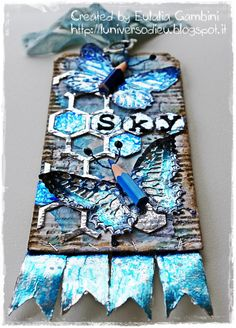 Tag butterfly duo die by Tim Holtz coloured with Copic on foil - by L'universo di Eu