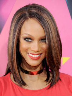 Best Cut for Coarse Hair: Often unruly, coarse hair does not prohibit you from flaunting gorgeous tresses. Try a sleek, graduated bob à la Tyra Banks.