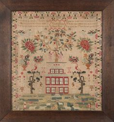 A 19th century needlework sampler: with verse Adam and Eve beneath a tree, above a house and field of animals interspaced with floral motifs within a geometric floral border, worked by Emma Ferniss aged 13 years 1836, framed and glazed, 62 x 57cm.