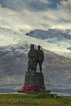 The commando Memorial at Spean Bridge - Aonach Mor, Carn Mor Dearg and Ben Nevis in background.