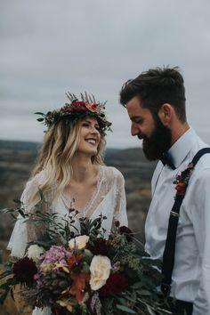 Drumheller Vow Renewal Elopement - Michelle Larmand Photography Bohemian elopement inspiration - adventure elopement inspiration - big bold bouquet and flower crown