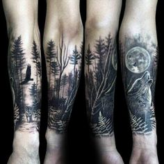 Wolf Howling At The Moon Male Forest Tattoo Sleeve On Forearms