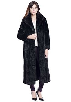 Black Mink Signature Full-Length Faux Fur Coat - 1
