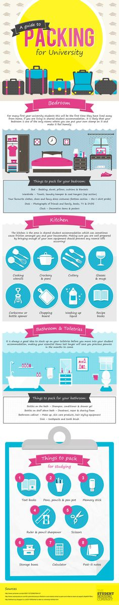 A Guide to Packing for University   #infographic #university #Moving #Packing