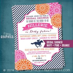 Kentucky Derby Birthday or Bridal Shower Party Invitation. Stripes and Mums.  Any text or Colors by Tipsy Graphics