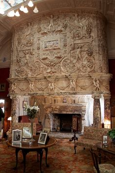 Ornate fireplace.