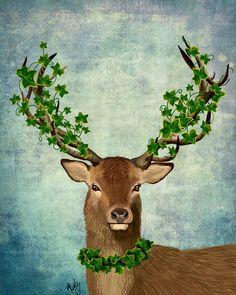 The Green King 14x11 Deer Art Deer Print Digital by LoopyLolly, $36.00