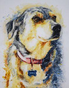 Custom Watercolor Pet Portrait on High Quality Paper by GannaArt
