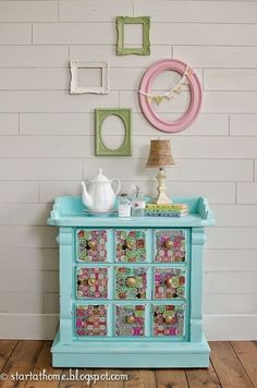 mod podged napkins on Teal nightstand with mismatched knobs.  Furniture Makeover by Start at Home Decor.