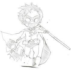 Robin is so cute in this drawing! :D I believe this is Tim Drake