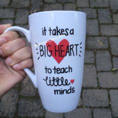 It Takes a Big Heart to Teach Little Minds by DimplesAndSass Gift For Teacher, Presents For Teachers, Coach Presents, Preschool Teacher Gifts, Dance Teacher Gifts, Teacher Appreciation Gifts, Valentines Mugs, Valentines For Teacher, Valentine Gifts For Teachers