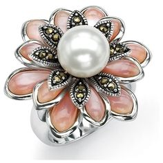 Palm Beach Jewelry PalmBeach Cultured Freshwater Pearl Pink... ($99) ❤ liked on Polyvore featuring jewelry, rings, pear cut ring, beach jewelry, wide band rings, wide rings and palm beach rings