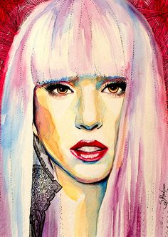 Lady Gaga  watercolor  painting print 8 x 12  by SlaviART on Etsy, $25.00