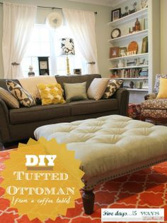 LOVE this ottoman and all the frugal details!! DIY Tufted Ottoman | M is for Mama