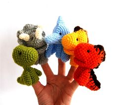 finger puppet crocheted dolls amigurumi toys for kid by crochAndi Crochet Gifts, Cute Crochet, Crochet For Kids, Crochet Toys, Crochet Baby, Amigurumi Patterns, Crochet Patterns, Finger Puppet Patterns, Crochet Dinosaur