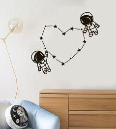 Vinyl Wall Decal Spaceman Astronaut Space Kids Room Stickers Unique Gift in X in / Black Kids Wall Murals, Room Stickers, Wall Decals For Bedroom, Nursery Decals, Vinyl Wall Decals, Bedroom Themes, Kids Bedroom, Boy Bedrooms, Trendy Bedroom