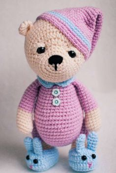 $ pattern here https://www.lovecrochet.com/sleepy-teddy-in-pajamas-and-bunny-slippers-crochet-pattern-by-kristi-tullus