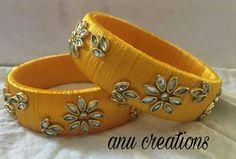 Silk Thread Bangles Design, Silk Bangles, Thread Jewellery, Handmade Jewellery, Beaded Bracelet Patterns, Jewelry Patterns, Beaded Bracelets, Designer Bangles, Fancy Blouse Designs